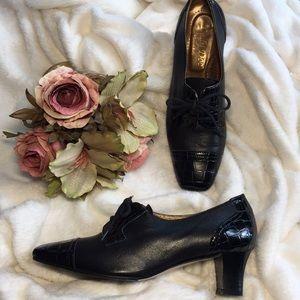 LADY DOC Italian Leather Retro Inspired Shoes, 38
